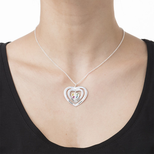 Mother Heart Necklace with Birthstones - 1
