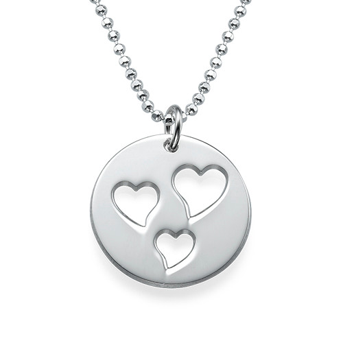 Mother and Daughter Cut Out Heart Necklace Set - 1
