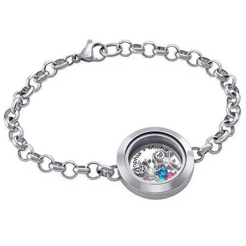 Mother Floating Locket Stainless Steel Bracelet With Children Charms
