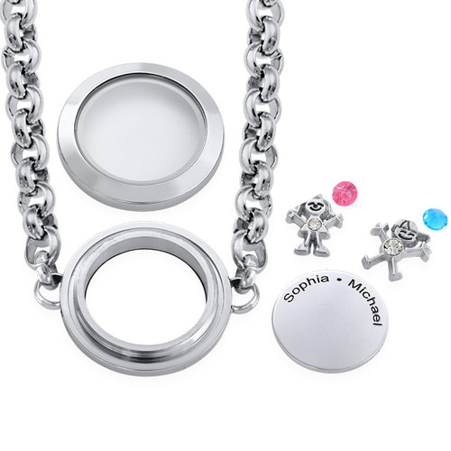 Mother Floating Locket Stainless Steel Bracelet with Children Charms - 1