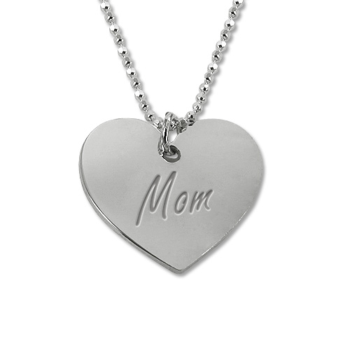 Mothers Jewelry- Personally Engraved Heart Necklace
