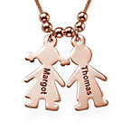 Mother's Necklace with Engraved Children Charms - Rose Gold Plated