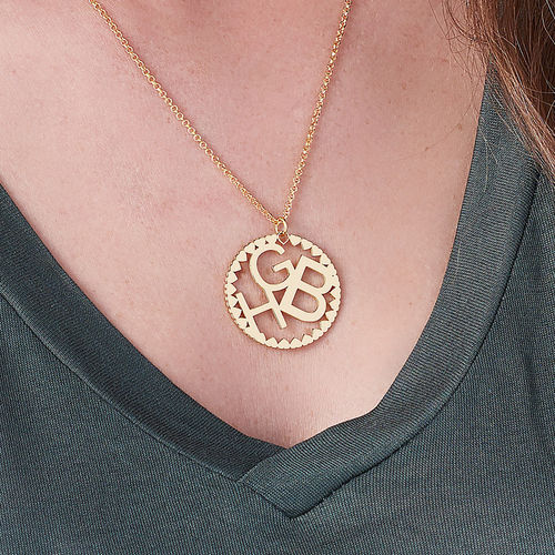 Multi Initials Circle Necklace in Gold Plating - 2