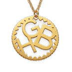 Multi Initials Circle Necklace in Gold Plating