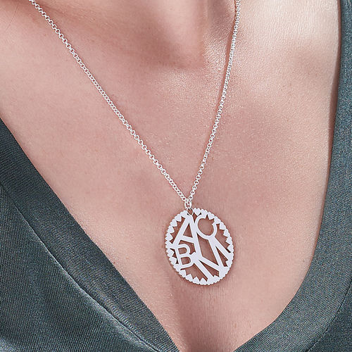Multi Initials Circle Necklace in Silver Sterling - 2