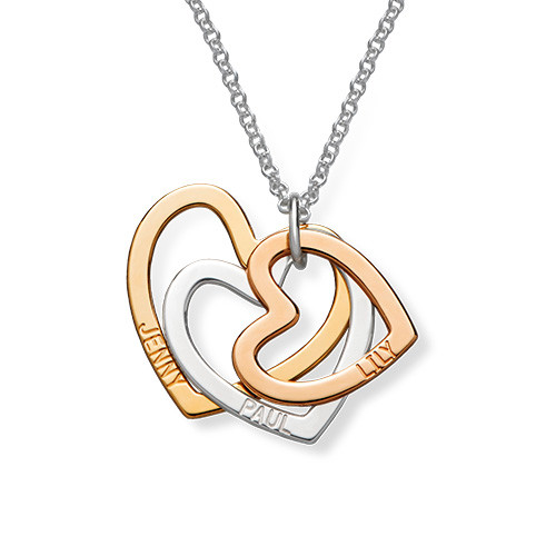 Multi-Tone Triple Heart Necklace - 1