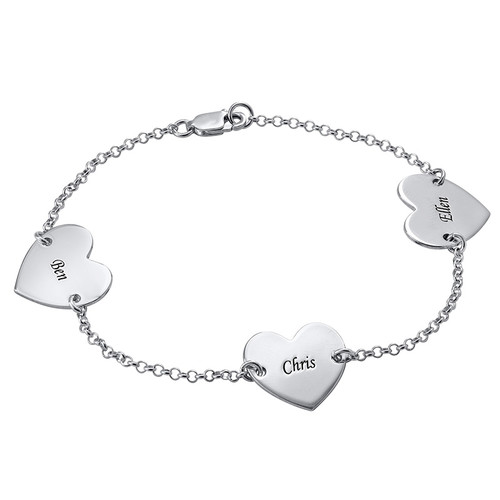 Multiple Heart Bracelet with Engraving