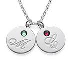 Multiple Initial Pendant Necklace with Birthstones