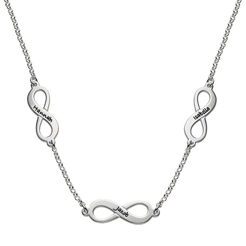Multiple infinity Necklace in Silver