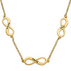 Multiple infinity Necklace with Gold Plating