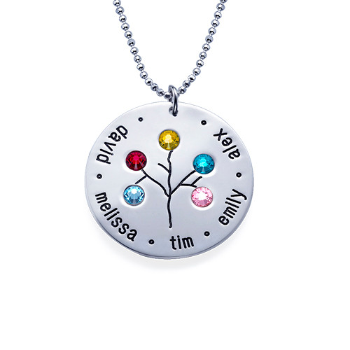 Sterling Silver Family Tree Necklace for Grandma