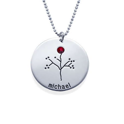 Sterling Silver Family Tree Necklace for Grandma - 1