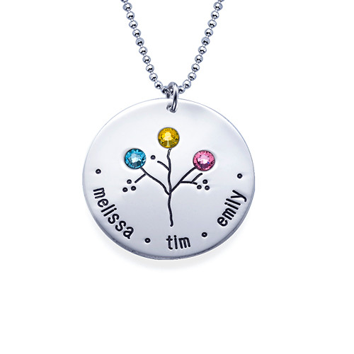Sterling Silver Family Tree Necklace for Grandma - 3
