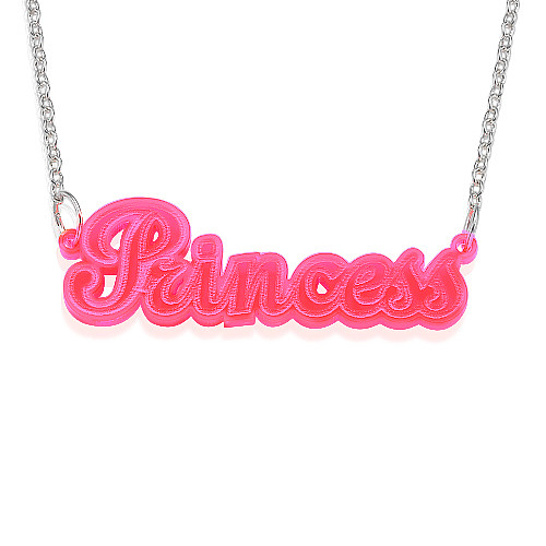Neon Pink Name Necklace Mynamenecklace