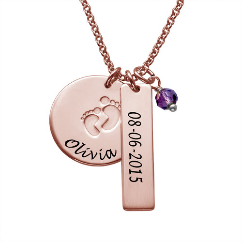 New Mom Jewelry - Baby Feet Charm Necklace with Rose Gold Plating