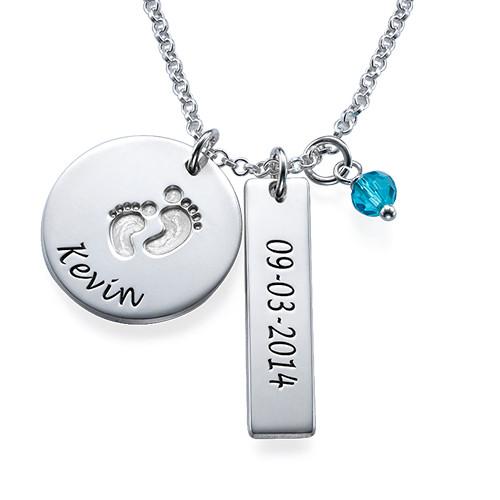 New Mom Jewelry - Baby Feet Charm Necklace - 1