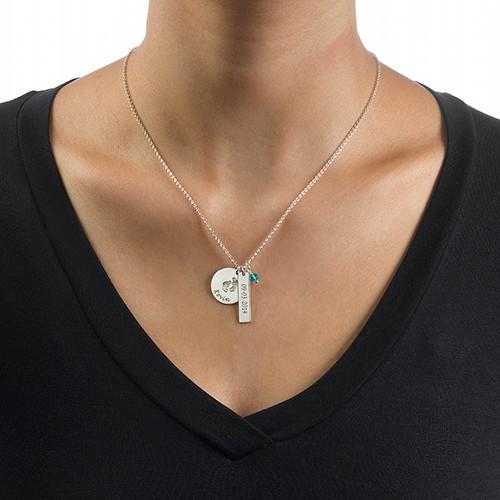New Mom Jewelry - Baby Feet Charm Necklace - 2