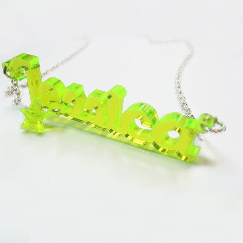 Acrylic Name Necklace with Charm - 2