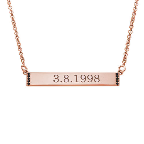 Numeral Bar Necklace with Cubic Zirconia in 18K Rose Gold Plating
