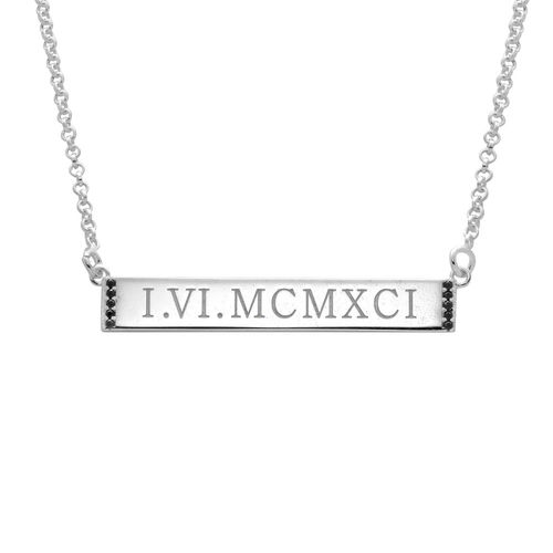 Numeral Bar Necklace with Cubic Zirconia in Sterling Silver