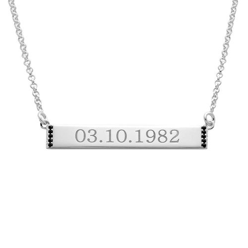 Numeral Bar Necklace with Cubic Zirconia in Sterling Silver - 1