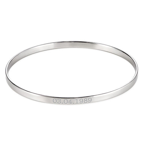 Numeral Date Bangle in Sterling Silver