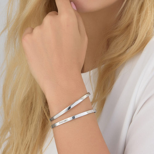 Numeral Date Bangle in Sterling Silver - 2