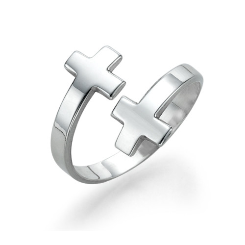 Open Cross Ring in Silver