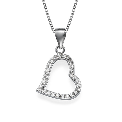 Open Heart Pendant Necklace with Cubic Zirconia