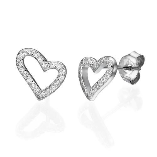 Open Heart Stud Earrings with Cubic Zirconia