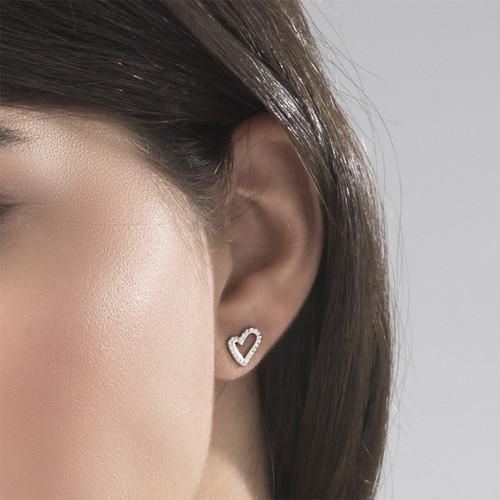 Open Heart Stud Earrings with Cubic Zirconia - 2