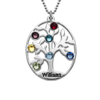 Oval Family Tree Necklace with Birthstones