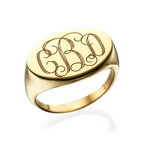 Oval Monogram Signet Ring in 18k Gold Plating