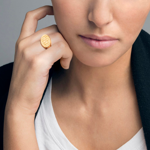 Oval Monogram Signet Ring in 18k Gold Plating - 2