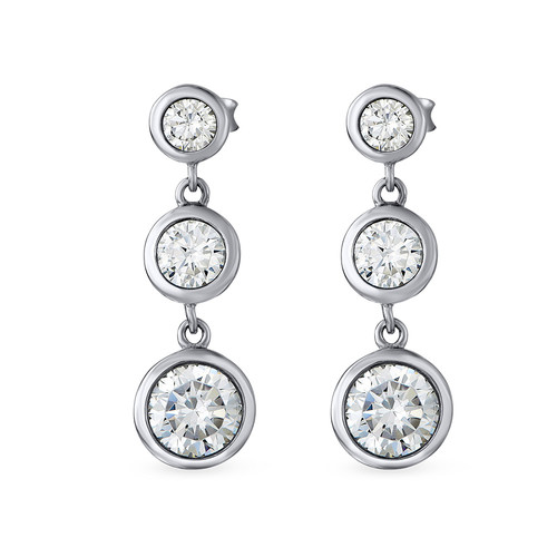 Past Present Future Cubic Zirconia Earrings - 1