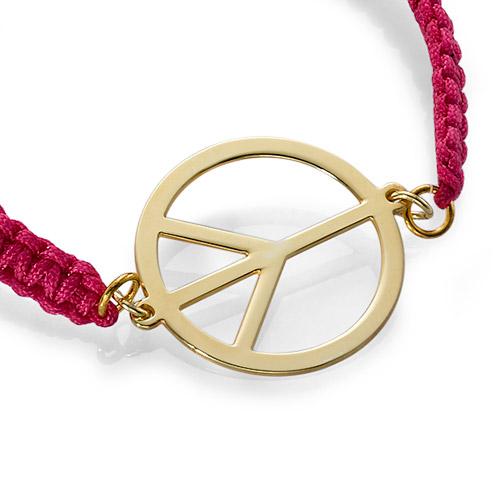Peace Sign Cord Bracelet - 1