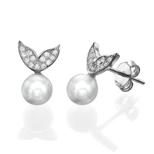 Pearl & Cubic Zirconia Stud Earrings