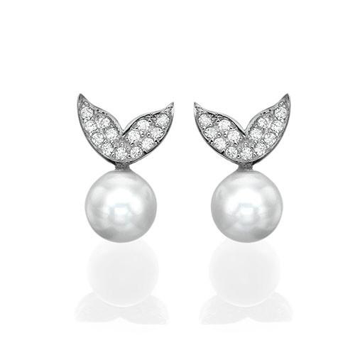 Pearl & Cubic Zirconia Stud Earrings - 1