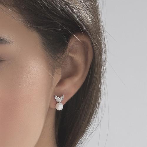 Pearl & Cubic Zirconia Stud Earrings - 2