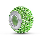 Peridot Birthstone Bead with Cubic Zirconia
