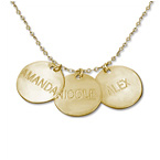 Personalized 14k Gold Disc Pendant Necklace