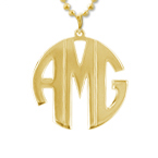 Gold Plated Block Letter Monogram Necklace