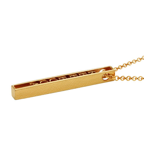 Personalized 3D Bar Necklace with 18K Gold Plating - 1