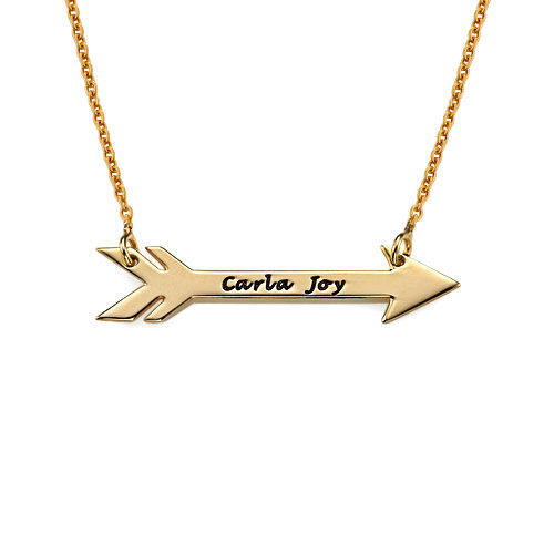 Personalized Arrow Necklace in 18k Gold Plating