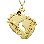 Personalized Baby Feet Necklace in 14K Gold