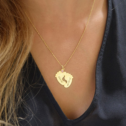 Personalized Baby Feet Necklace with Gold Plating - 2