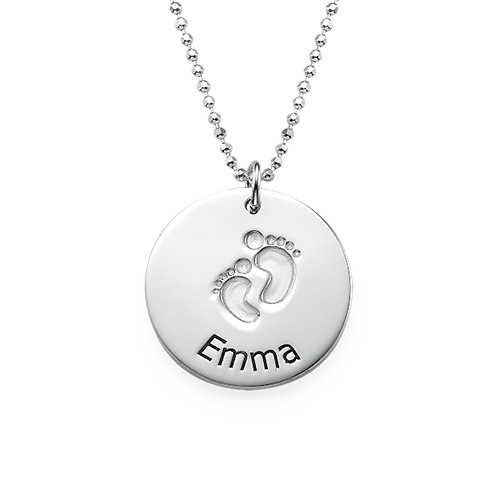 Baby Name Necklace with Footprints