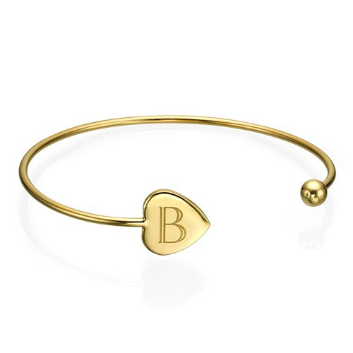 Personalized Bangle Bracelet in Gold Plating - Adjustable