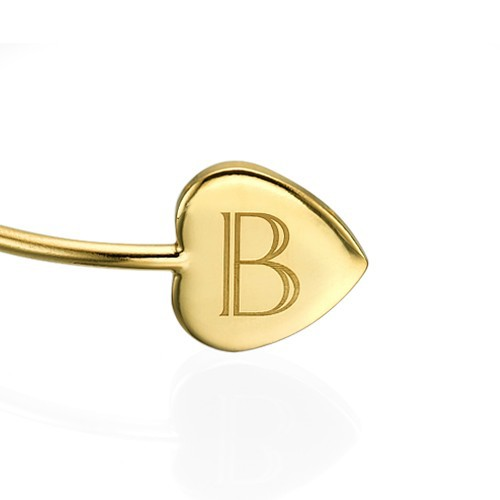 Personalized Bangle Bracelet in Gold Plating - Adjustable - 1