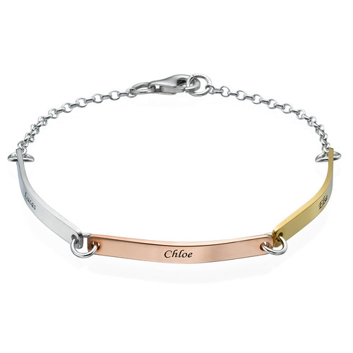 Personalized Bar Bracelet - Multi-Toned
